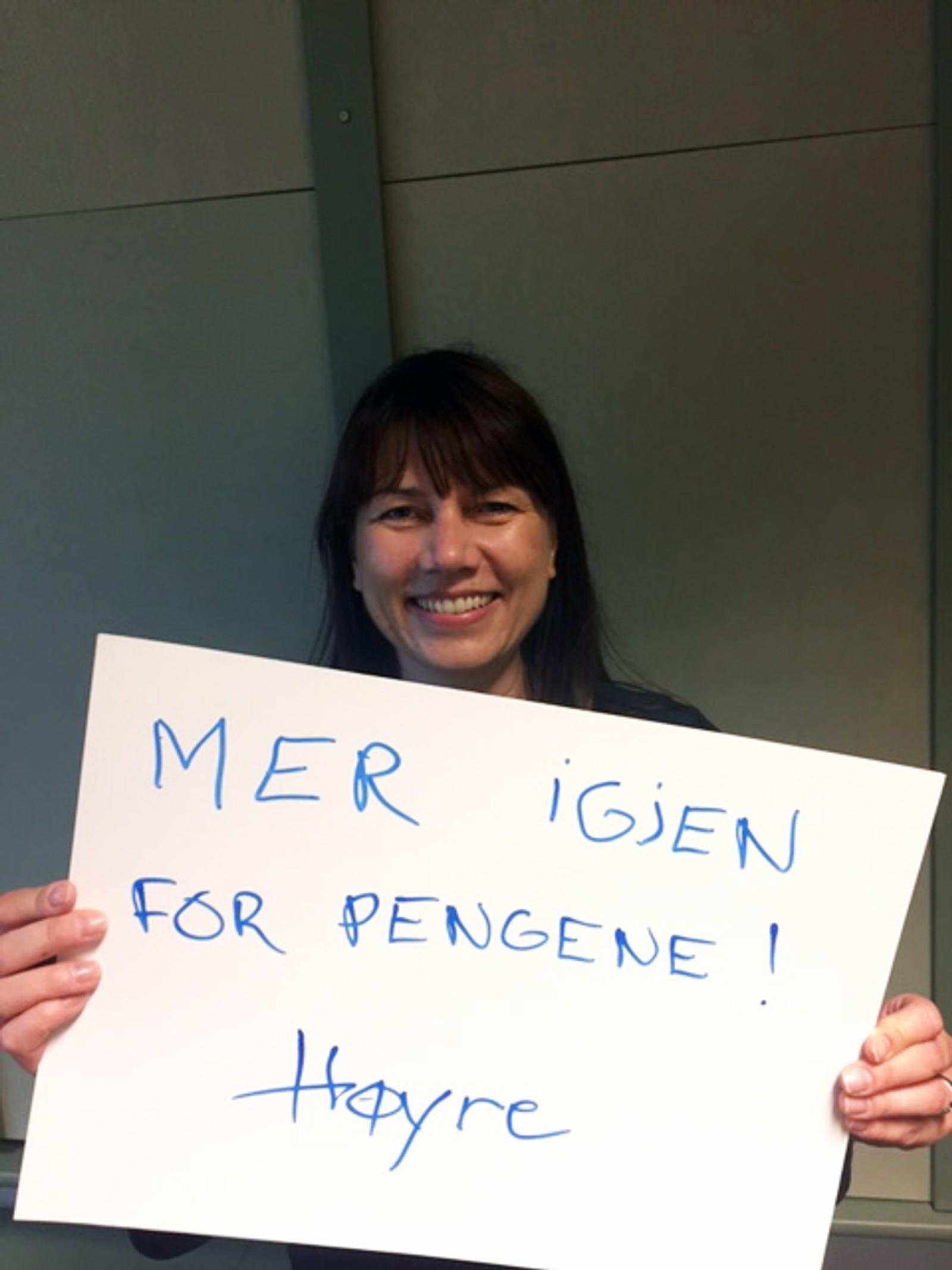 HEIDI NORDBY LUNDE (H): «Mer igjen for pengene! Høyre».