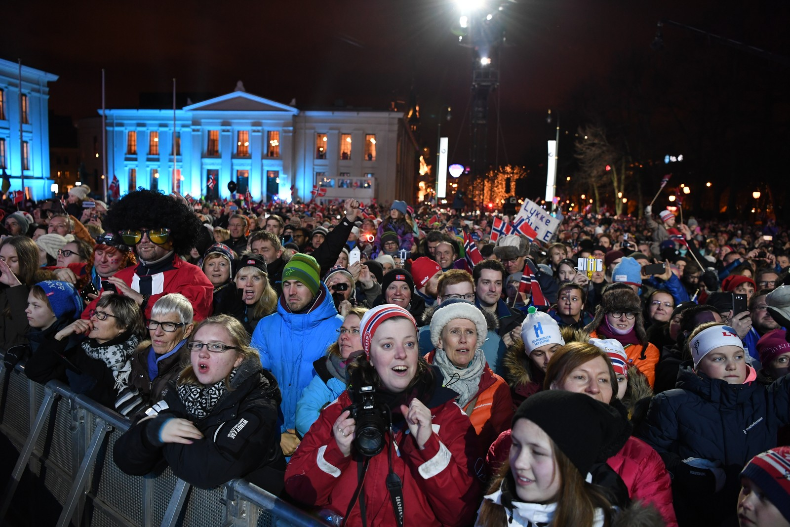 The medal plaza was crowded during the medal award ceremonies in downtown Oslo.