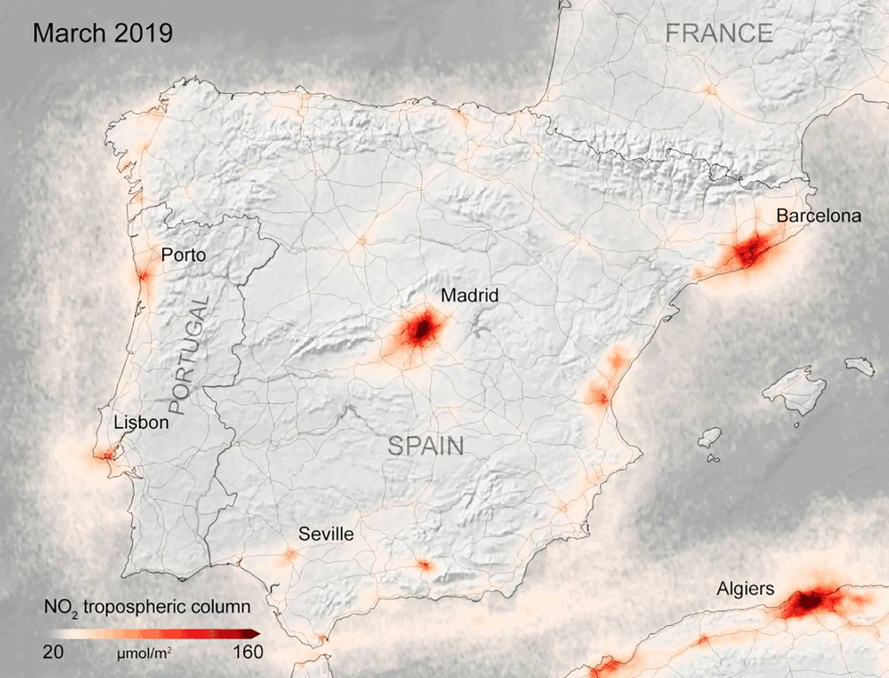 Kart fra ESA som viser konsentrasjonen av NOx-gasser i Spania i mars 2019.