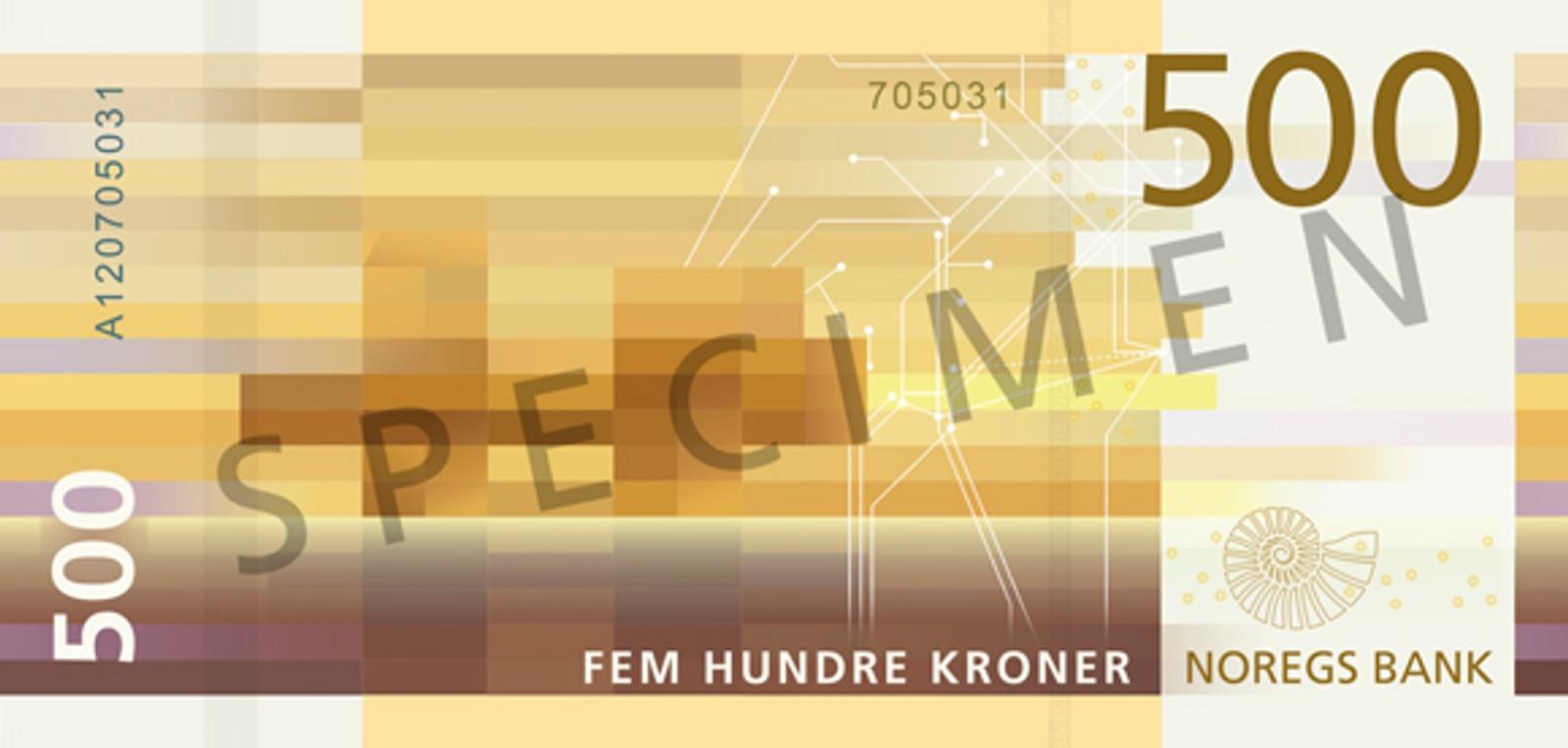 I mønsteret på 500-kroneseddelen kan du skimte en oljeplattform i horisonten, heter det fra Norges Bank. Seddelen skal tas i bruk fra 3. kvartal 2018.