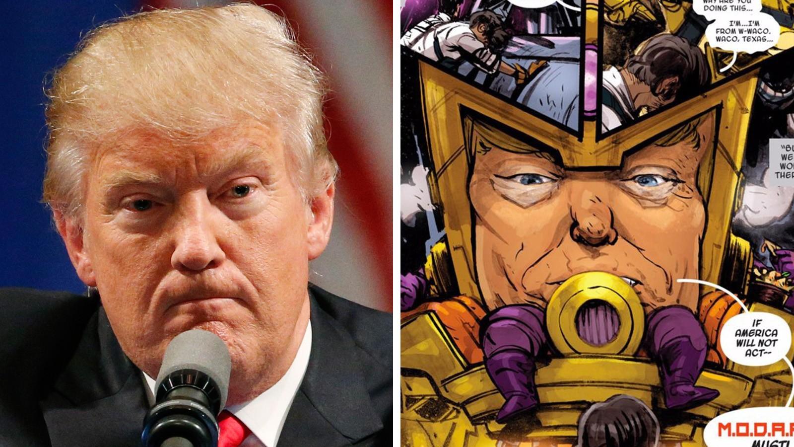 TEGNESERIE: Tegneserier er jo en slags kunstform, og tidligere i juli dukket det opp en skurk som var skremmende lik Donald Trump i tegneserieheftet «Spider Gwen».