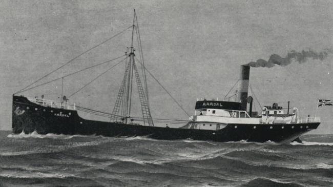 """Heile mannskapet kom bort då DS """"Aardal"""" forliste i Nordsjøen. © Fjord1."""
