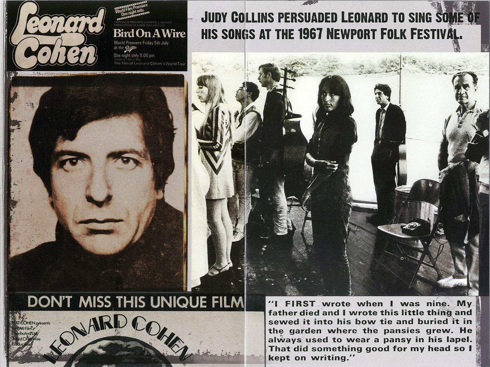 MUSIKKFILM: I 1972 var Leonard Cohen på en omfattende turné i Europa. Tony Palmer gjorde opptak til en film som siden ble glemt. Det ble senere Bird On a Wire, som vant The Grierson Pize i 2011.