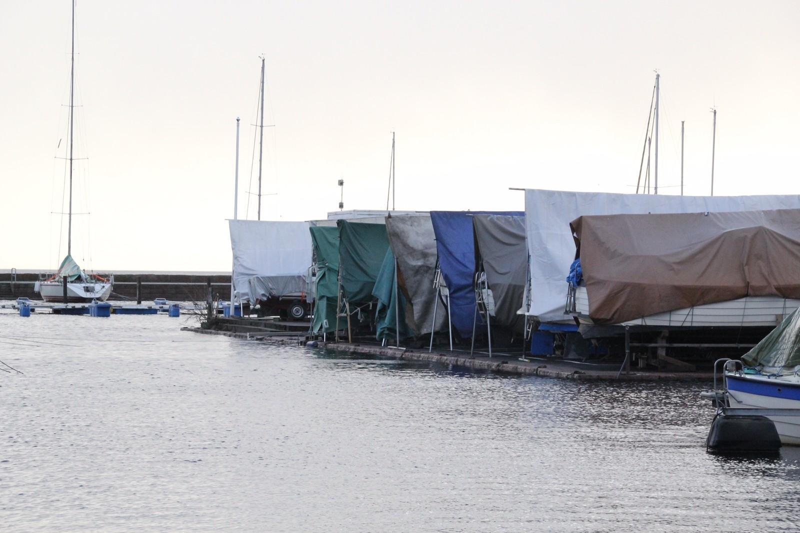 I gjestehavna i Kristiansand ligger båtene dårlig an hvis vannet stiger mer.