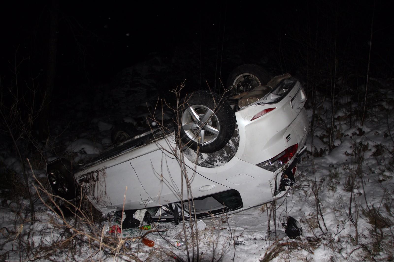 Utforkjøring på Bjelland i Marnardal. To personer ble lettere skadet.