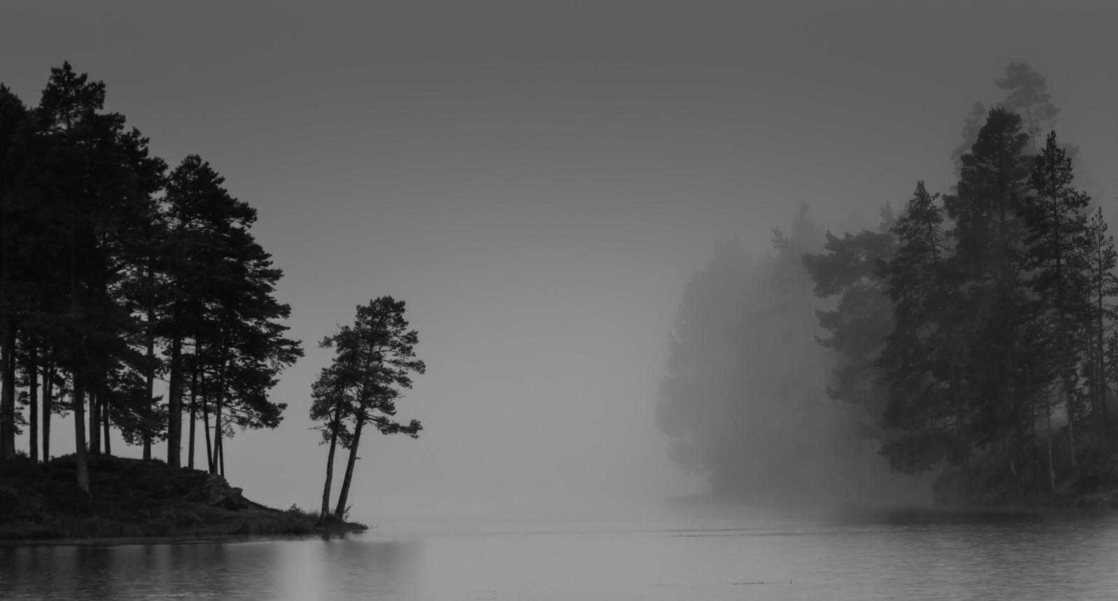 Tåkemorgen ved Stavsjøen i Malvik