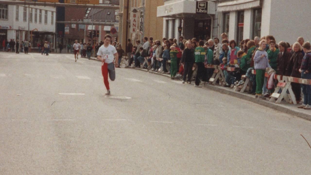 Vidar Skillingsås deltar i et løp i Porsgrunn. Vidar overlevde Scandinavian Star-dødsbrannen i 1990.