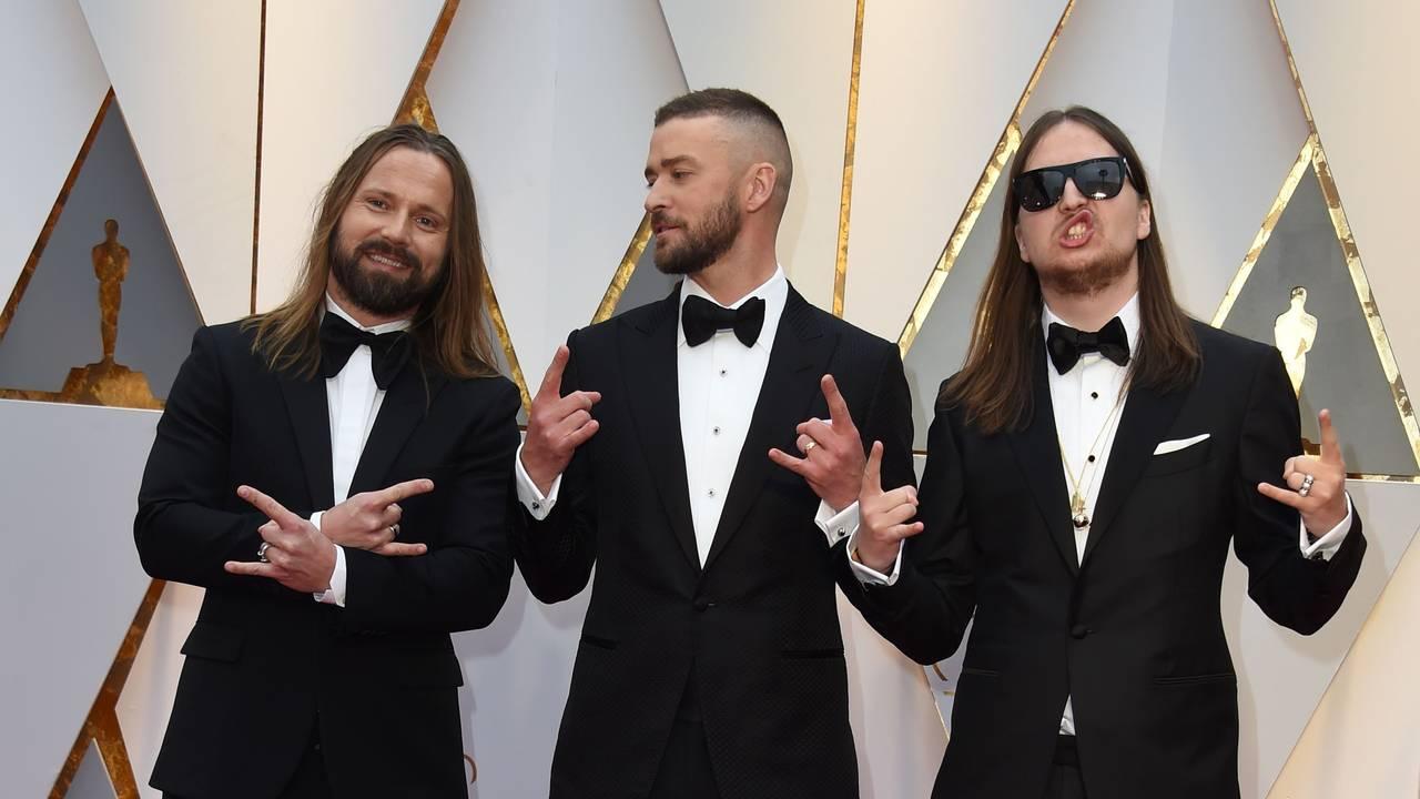 Max Martin, Justin Timberlake og Shellback på raud løpar i Hollywood, 2017