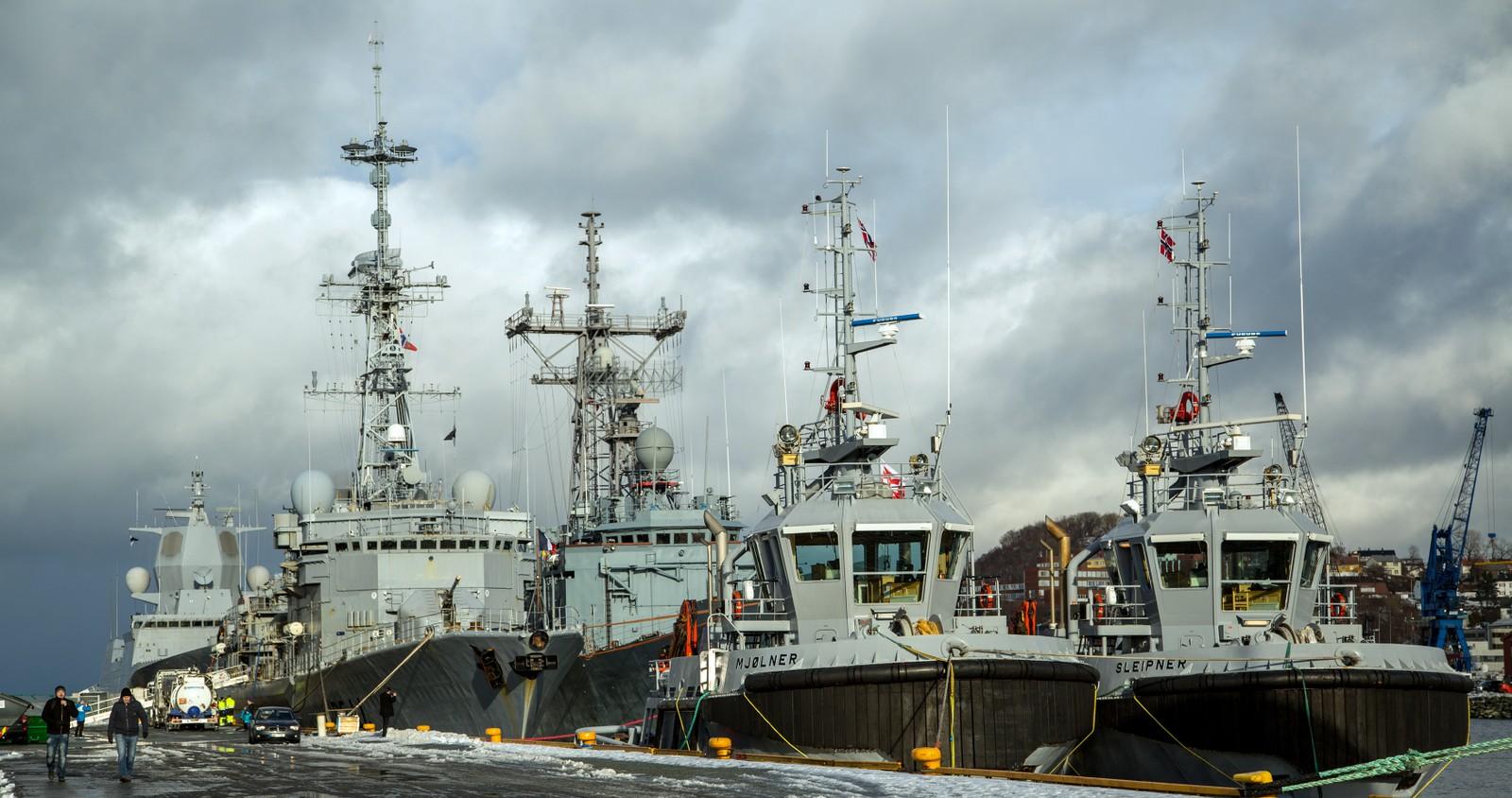 Marinefartøyer på havna i Trondheim i forbindelse med øvelsen Cold Response