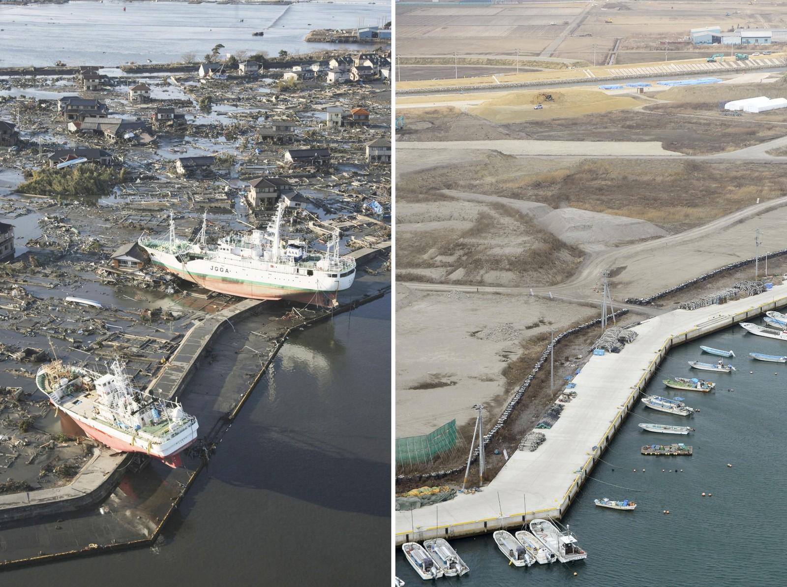 MIYAGO: Ben Higashimatsushima Miyago-distriktet ble hardt rammet av katastrofen. Fem år etter at tsunamien rullet innover kysten, ser område slik ut (t.h.).