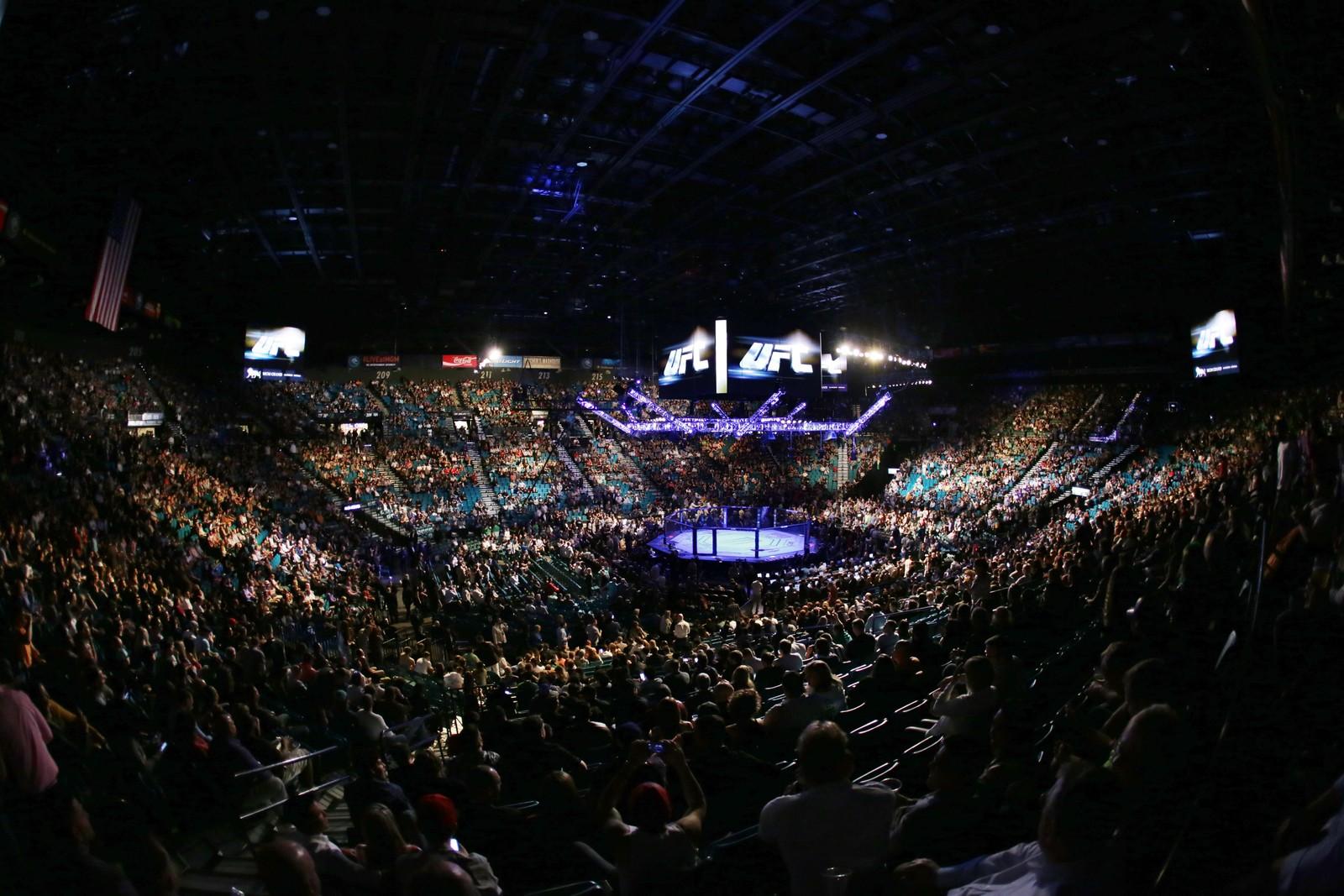 Fullsett Grand Garden Arena i Las Vegas før kampen mellom Conor McGregor og Nate Diaz.
