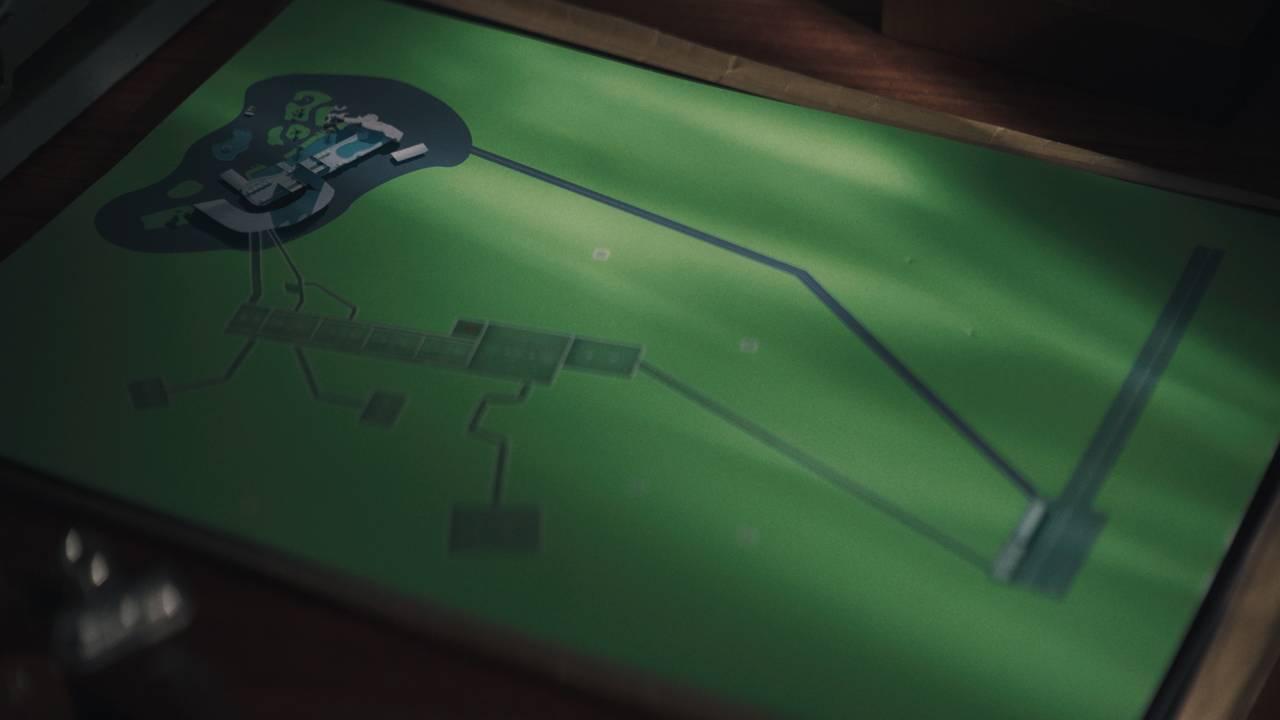 Illustrasjon av et hotell med lufthavn og en underjordisk fabrikk.