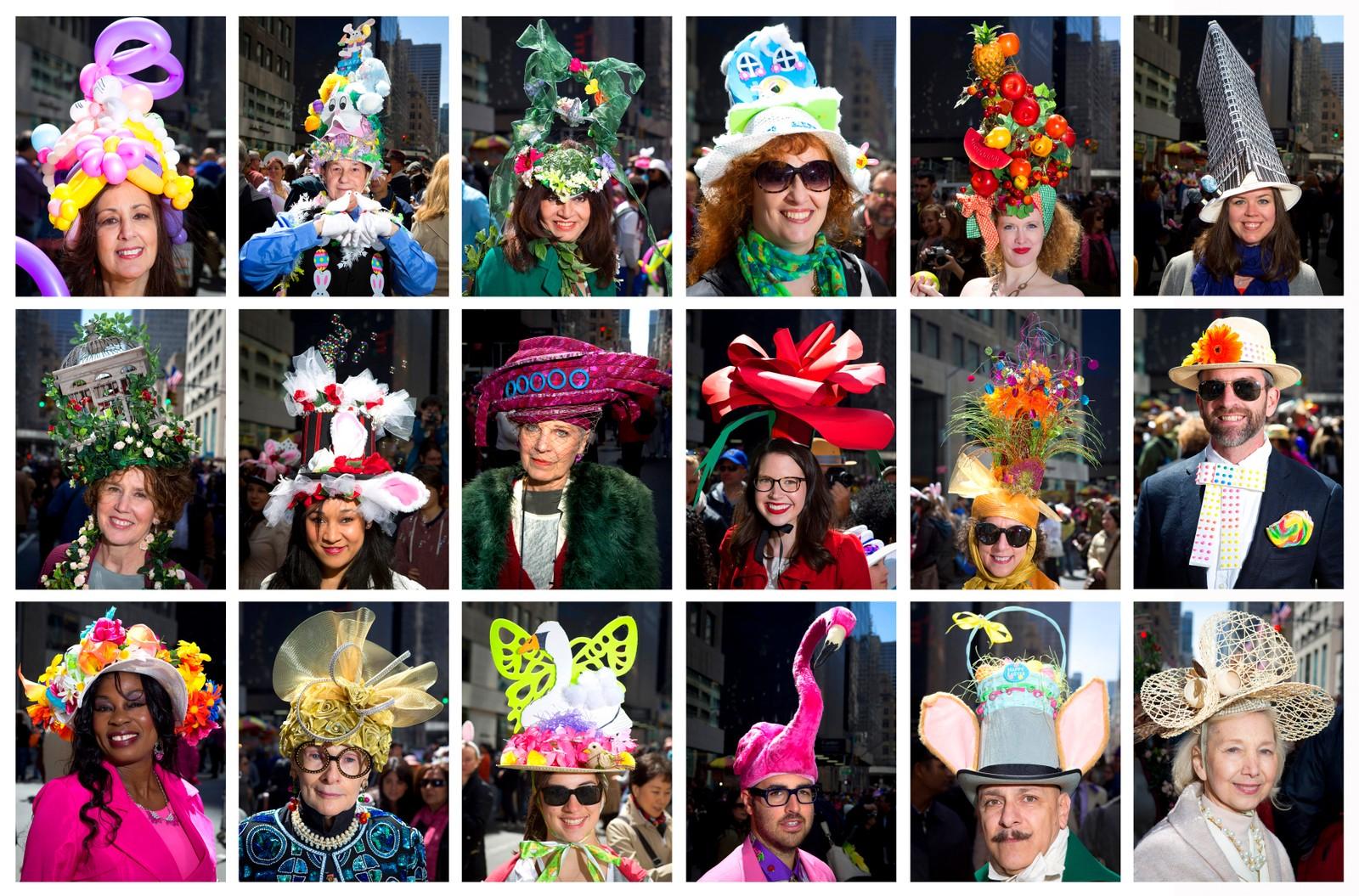 Den årlige Easter Bonnet-paraden i New York kombinerer påske og kreative hatter.