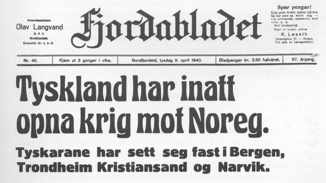 Fjordabladet 9. april 1940.