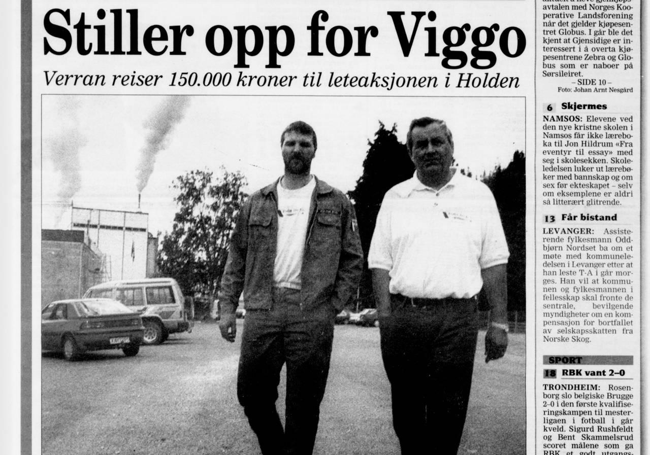 Faksimile, Trønder-Avisa. Søk etter Viggo Lindstrøm.