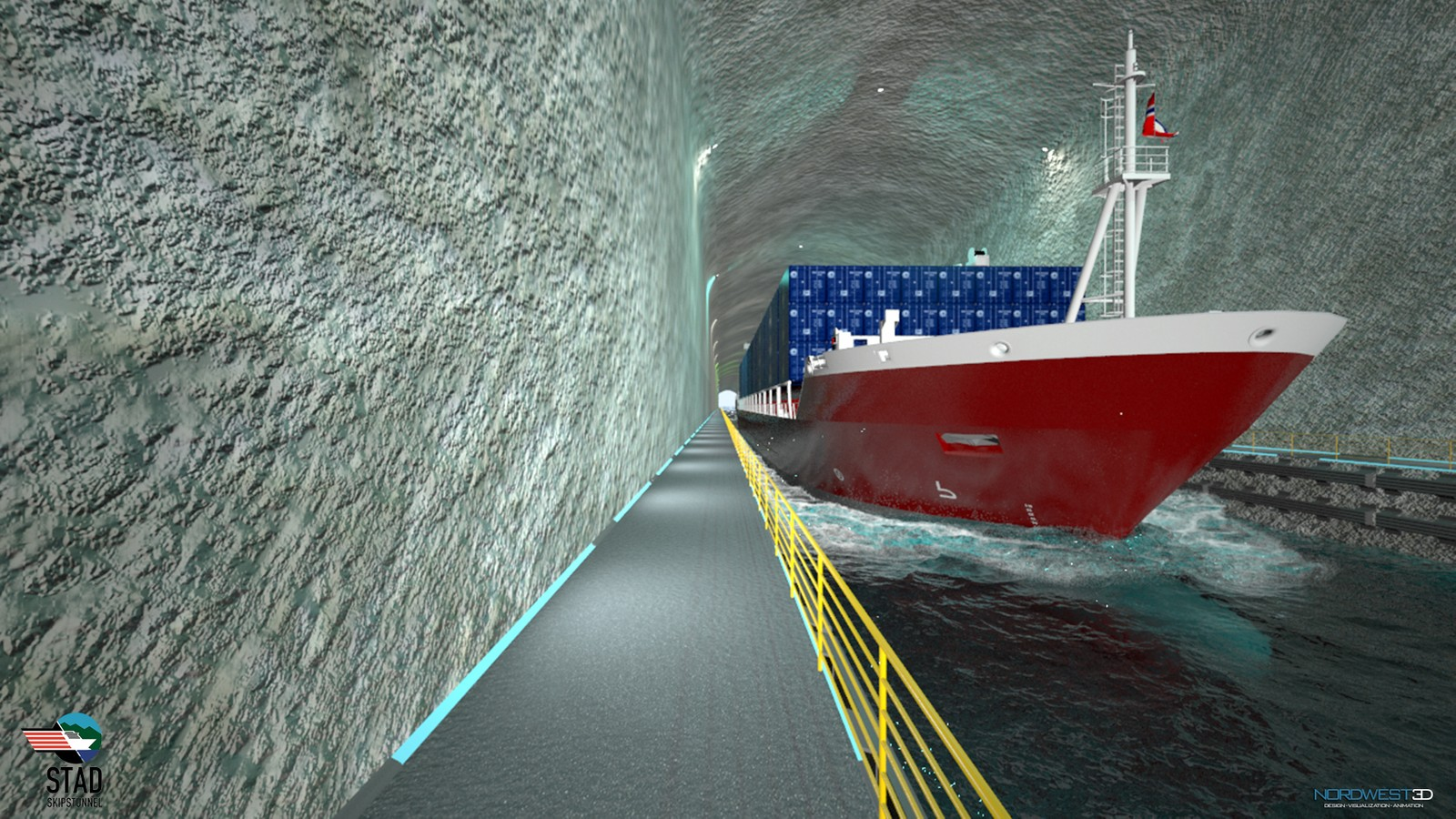 Containerskip i Stad skipstunnell (illustrasjon).