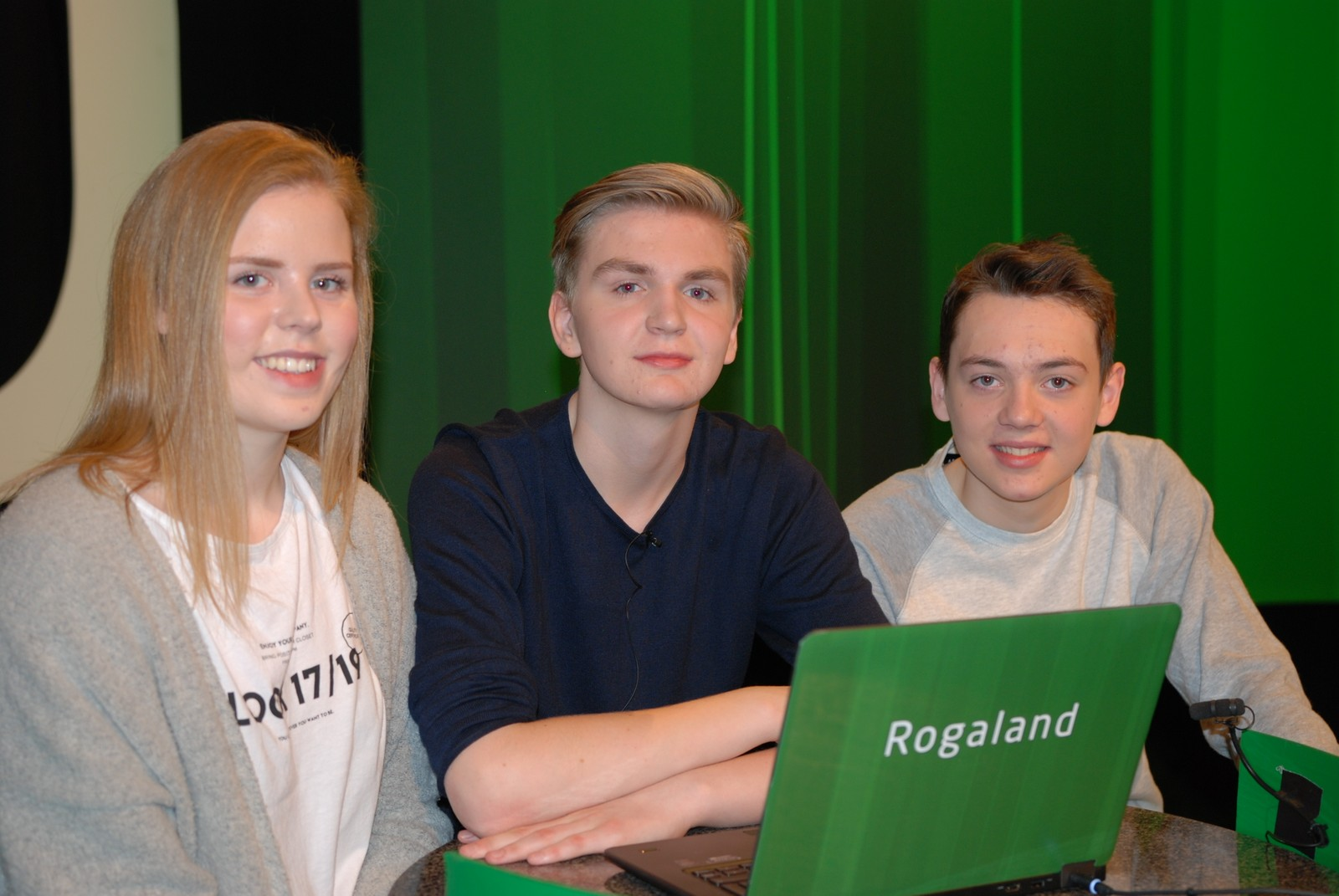ROGALAND: Undheim skule i Time representert ved Sebastian Bø, Henning Undheim og Emilia Taksdal.