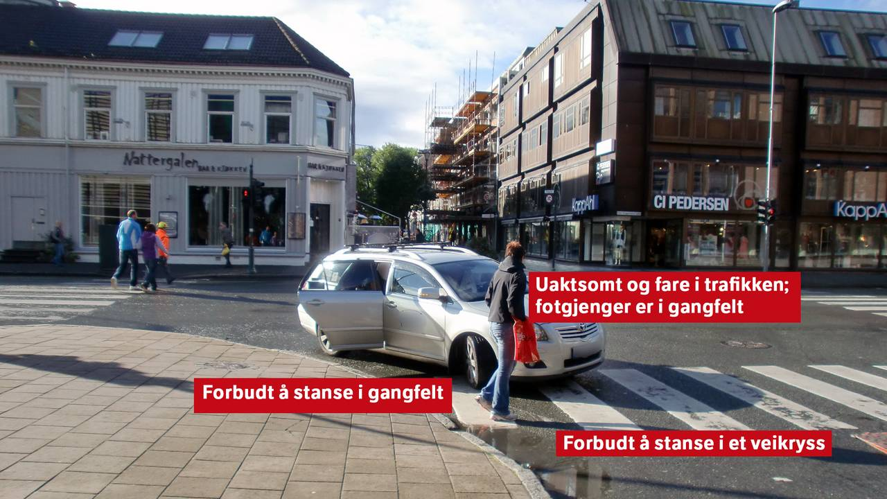 Fasit på spørsmål fra forrige bilde 1. Forbudt å stanse i gangfelt 2. Uaktsomt og fare i trafikken - fotgjenger er i gangfelt 3. Forbudt å stanse i et veikryss