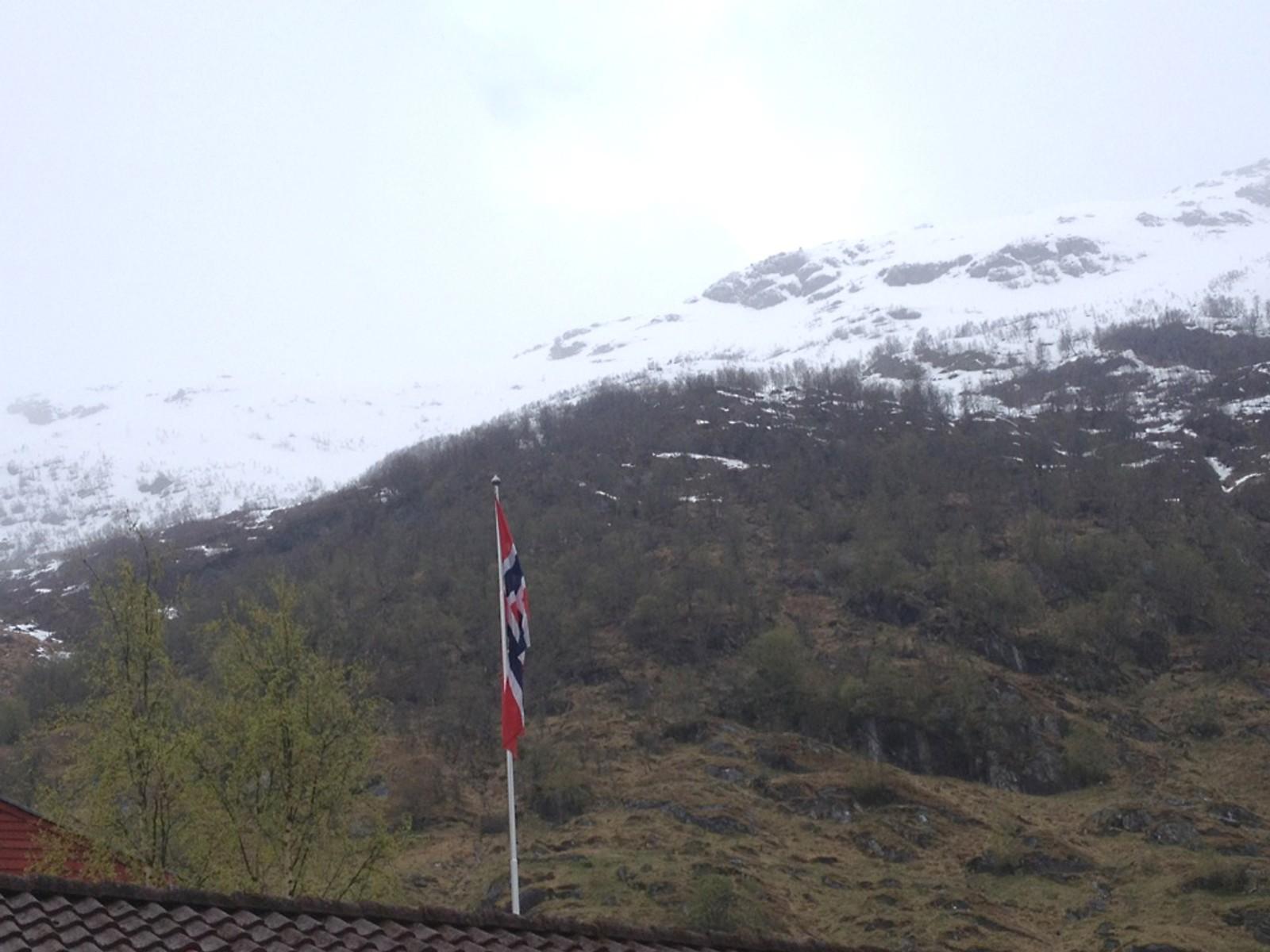- Flagget til topps her på Høja på Ytre Kandal. Gratulerer med dagen til alle. Heldige vi som har fred, skriv Ester Løland.