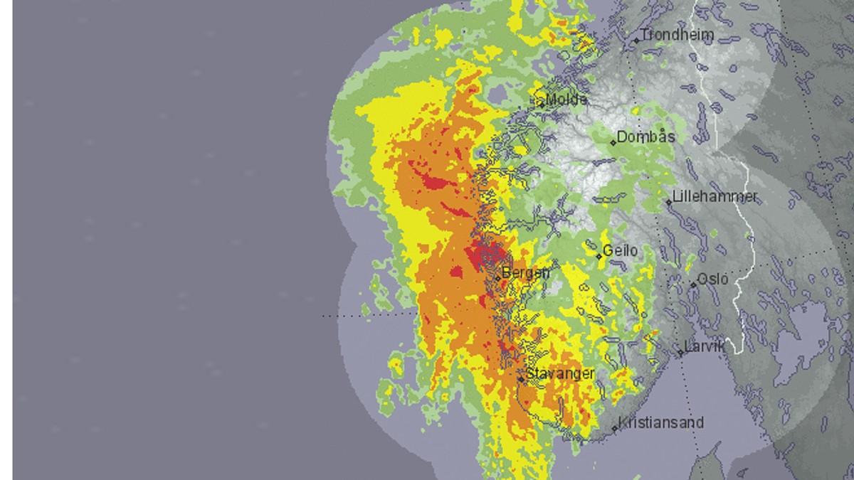 yr.no/radar - Foto: Skjermdump yr.no/radar