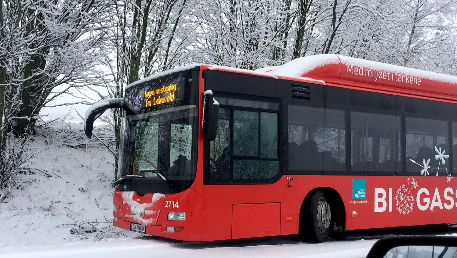 Flere busser har kjørt av veien. Denne ligger i grøfta ved Vesten i Fredrikstad.