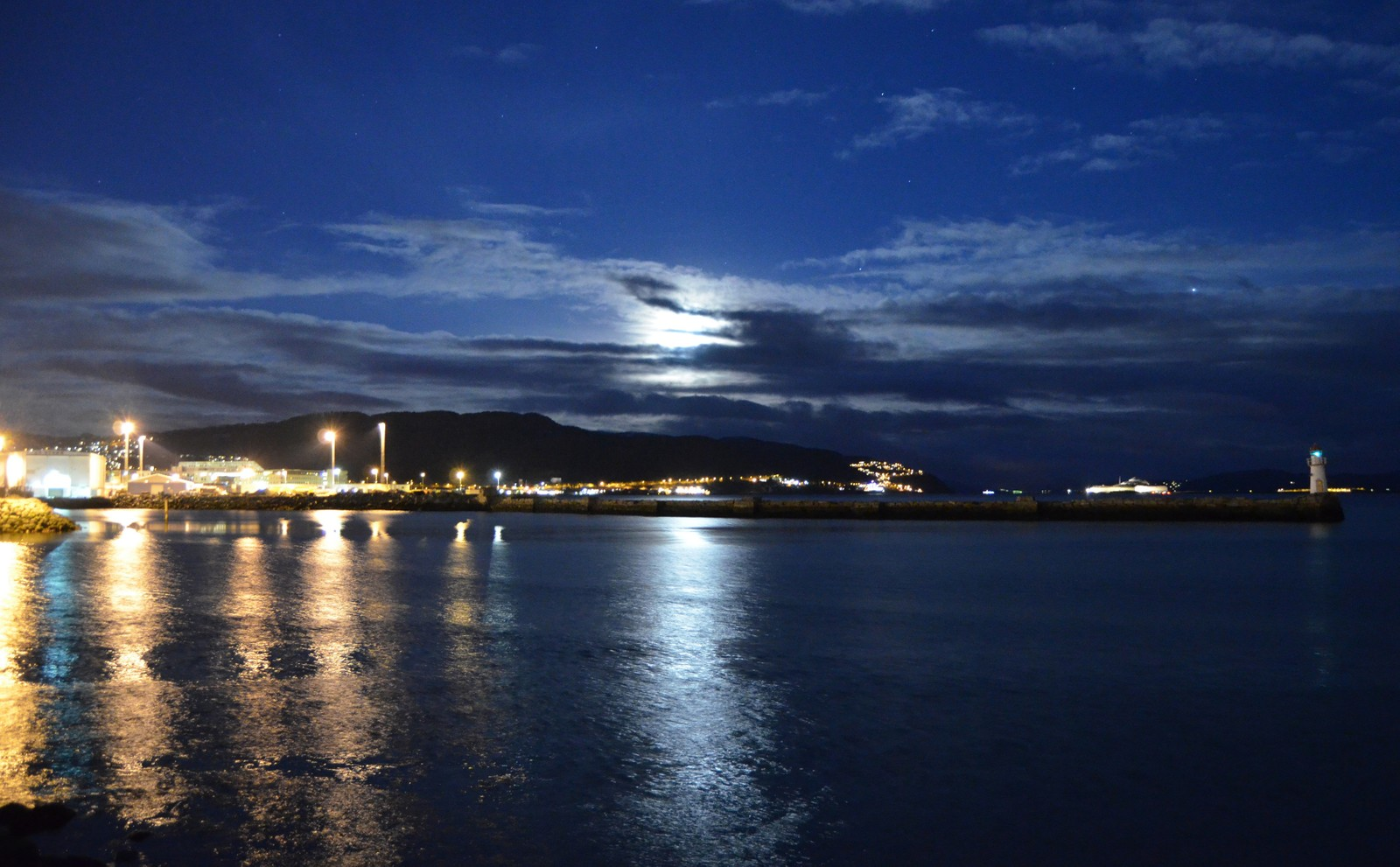 Måneskinnsnatt i Trondheim Havn