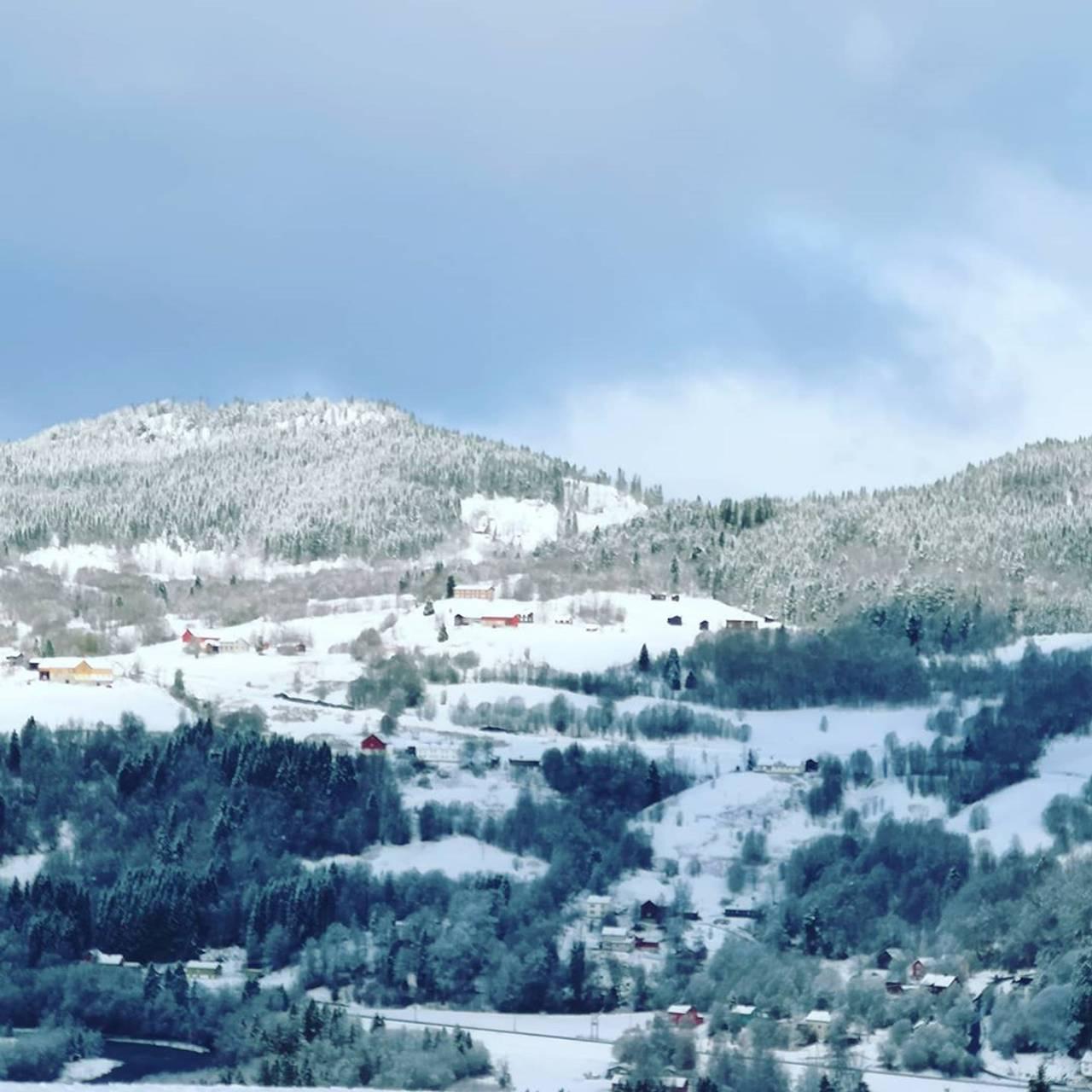 Snø i mai. BIldet viser åssiden over Svorkmo i Orkland i Trøndelag, dekket av et hvitt teppe.
