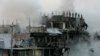 Utbombet hus som har blitt angrepet av en Hellfire-rakett