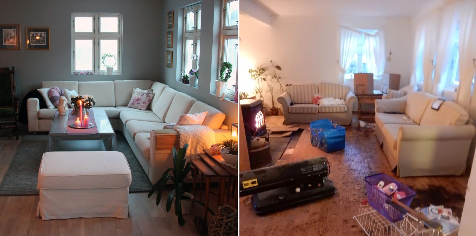 Vannet sto opp til vinduet i stua. Bilde til venstre viser dagens stue. Bildet til høyre er tatt etter at elva gikk tilbake.  Fotomontasje.