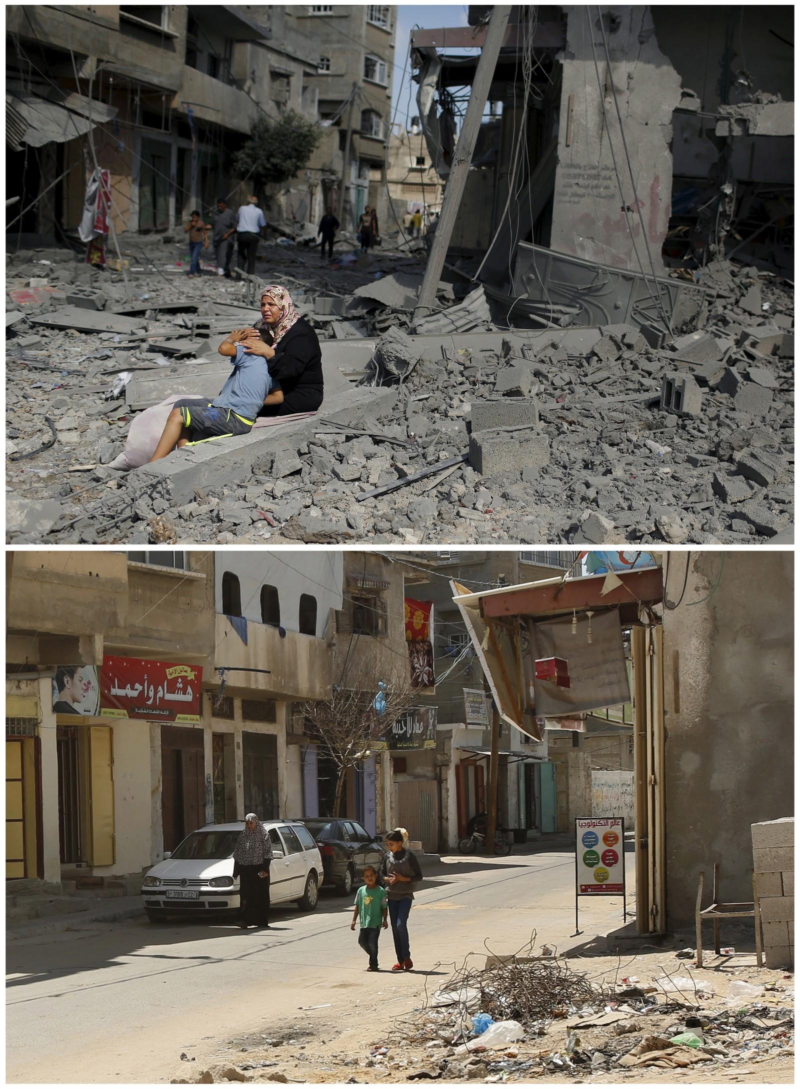 26. juli: En kvinne trøster sønnen sin utenfor deres sønderbombede hjem i Beit Hanoun på Gazastripen. Bildet under viser samme gate et snaut år etterpå.