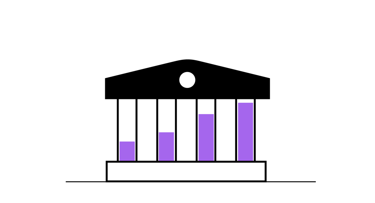 En stilisert bankbygning, der stolpene får om ser ut som stolper med stolpediagram inne i, com vokser.