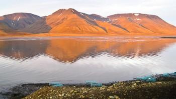 Alt man ser av Adventsfjorden på bildet er tørt land når det er fjære. Merk rusene ved strandkanten