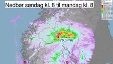 Nedbør søndag klokka 8 24 juli  - Foto: Grafikk Meteorologisk institutt