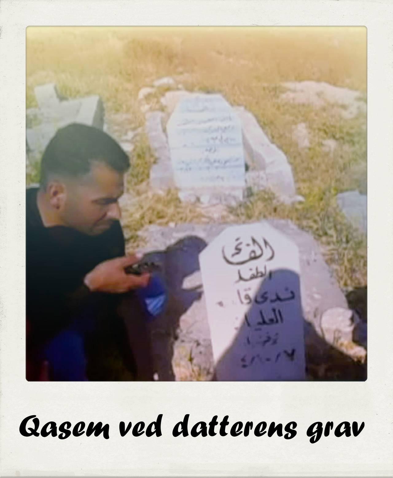 Quasem Alelain ved datterens grav