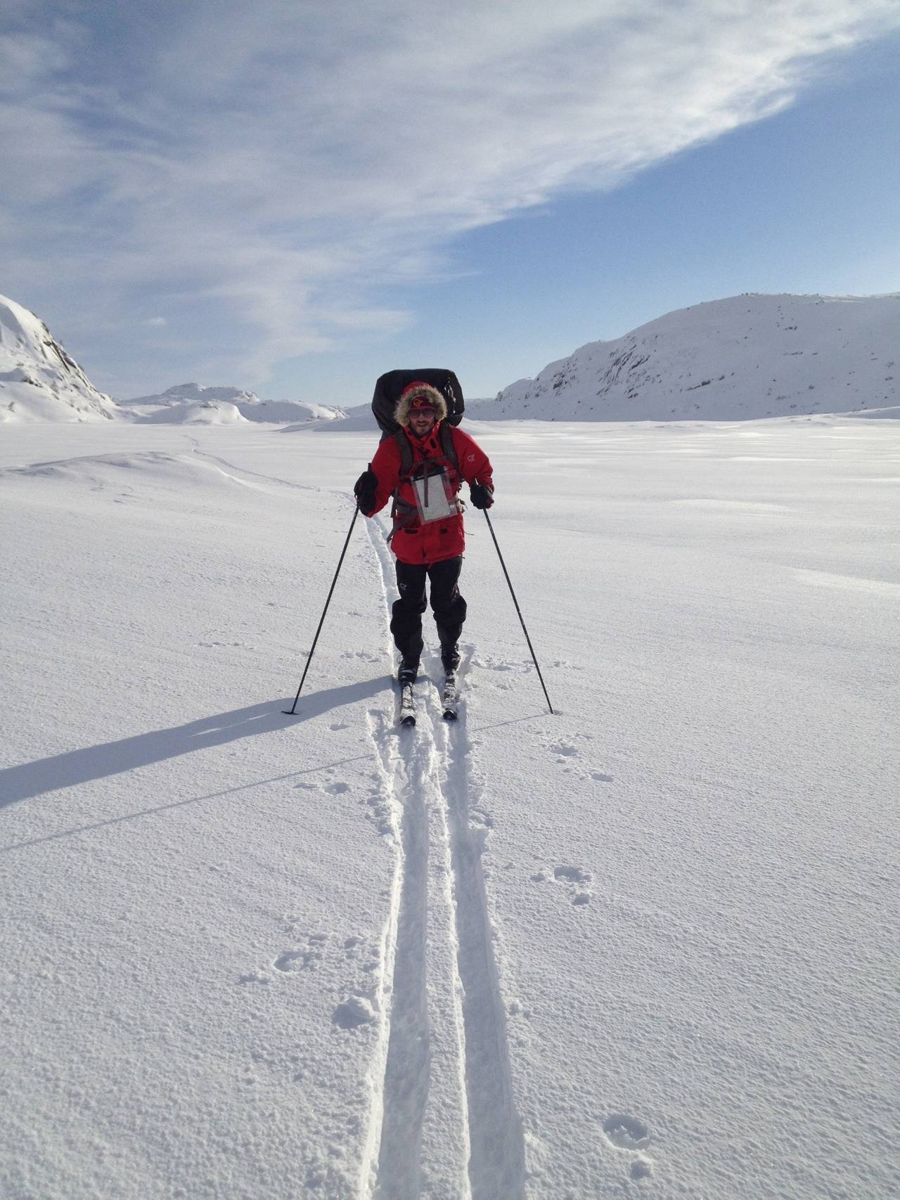 Bjørn Tomren då han gjekk Noreg på langs på ski.