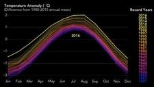 SE UTVIKLINGEN FRA 1880 til 2016: I fjor er det varmeste året som er registrert, ifølge forskere. Grafikk: NASA.