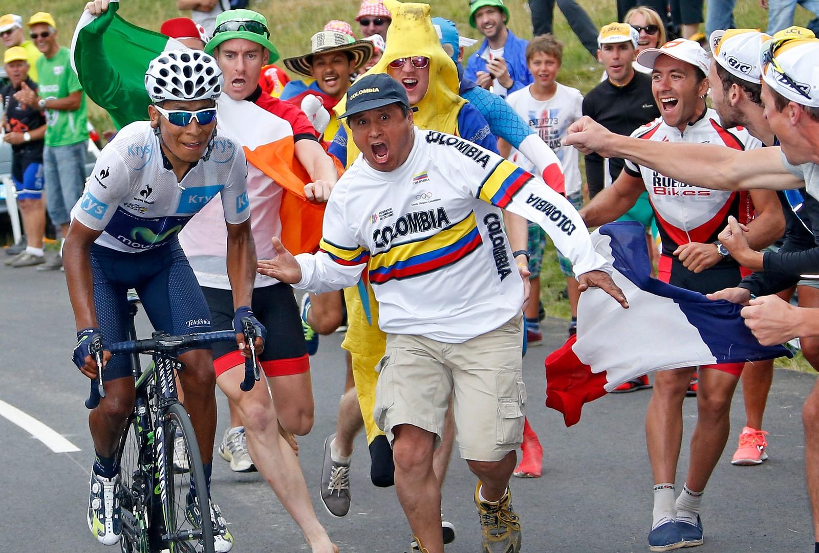 Nairo Quintana fikk enorm støtte fra de colombianske tilskuerne. Han endte på andreplass sammenlagt. REUTERS/Eric Gaillard