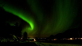 Spetakulært nordlys i Laukvik, Lofoten rundt midnatt.