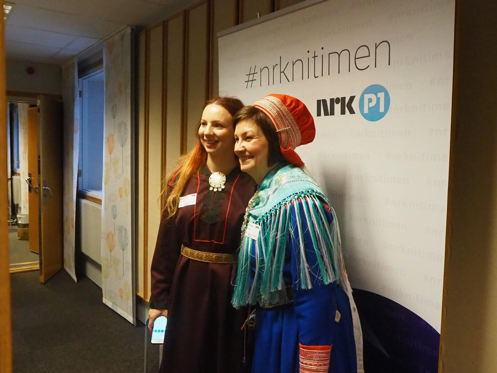 Aili Keskitalo og Elin Kåven var to av deltagerne i dagens Nitimen-sending på NRK P1, dette var starten på sametingspresidenten noe travle dag.