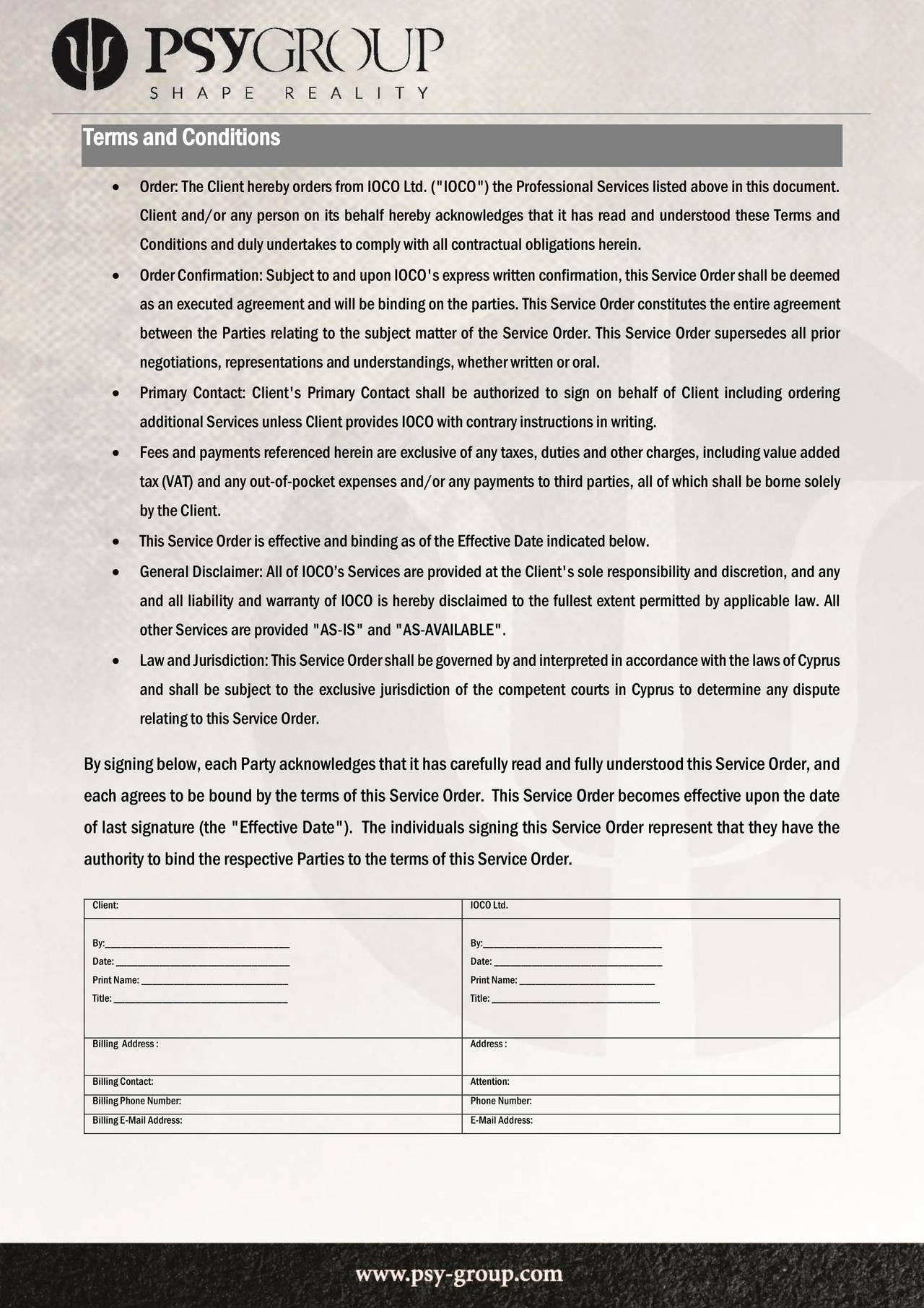 Side 6 i Psy-Group-kontrakten