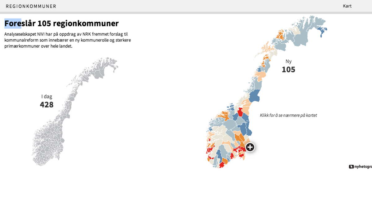kommunesammenslåing kart Slik blir Norge med 105 kommuner – Valg 2013 kommunesammenslåing kart