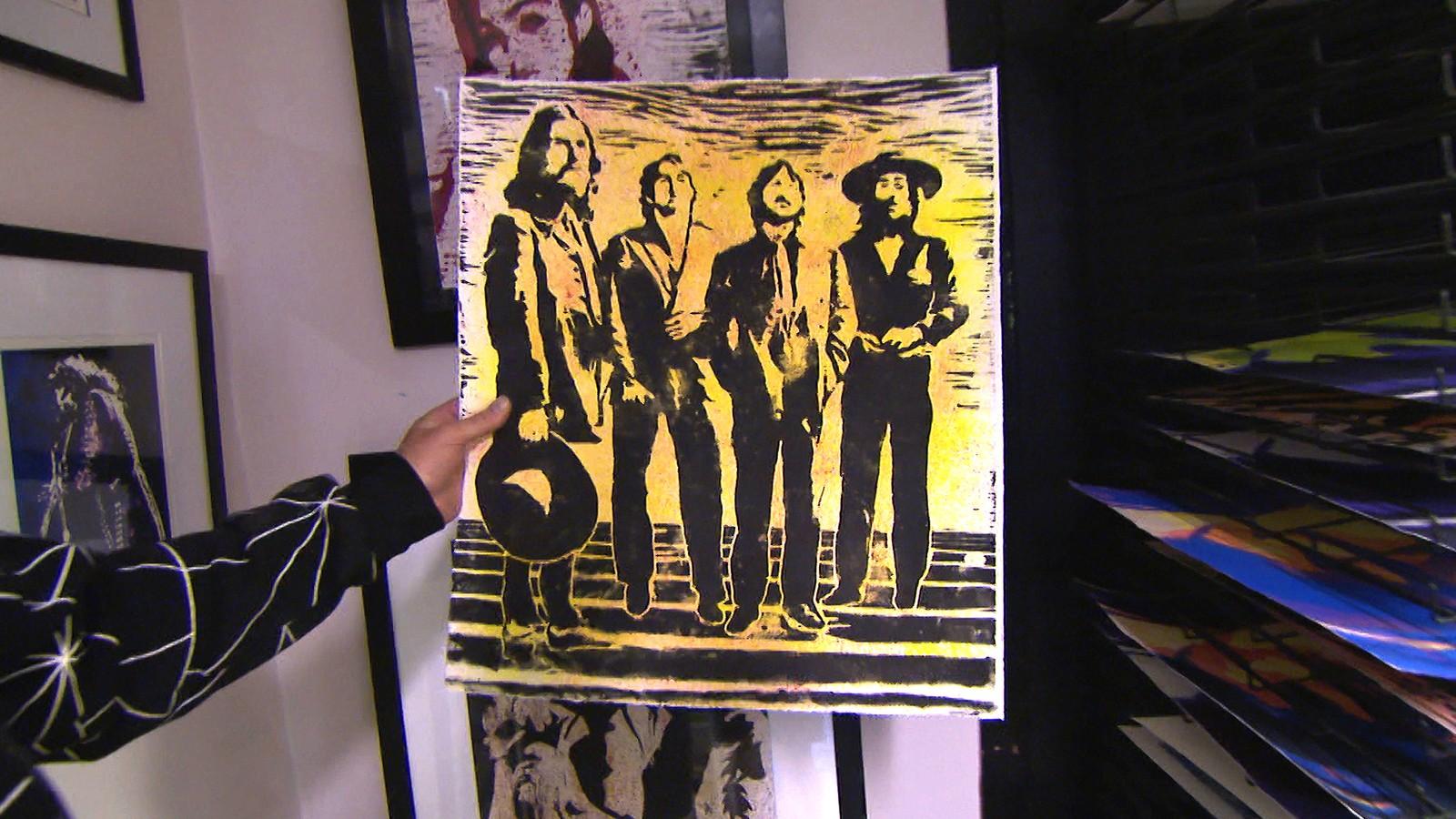 Dag Ringstad med sitt første tresnitt: The Beatles