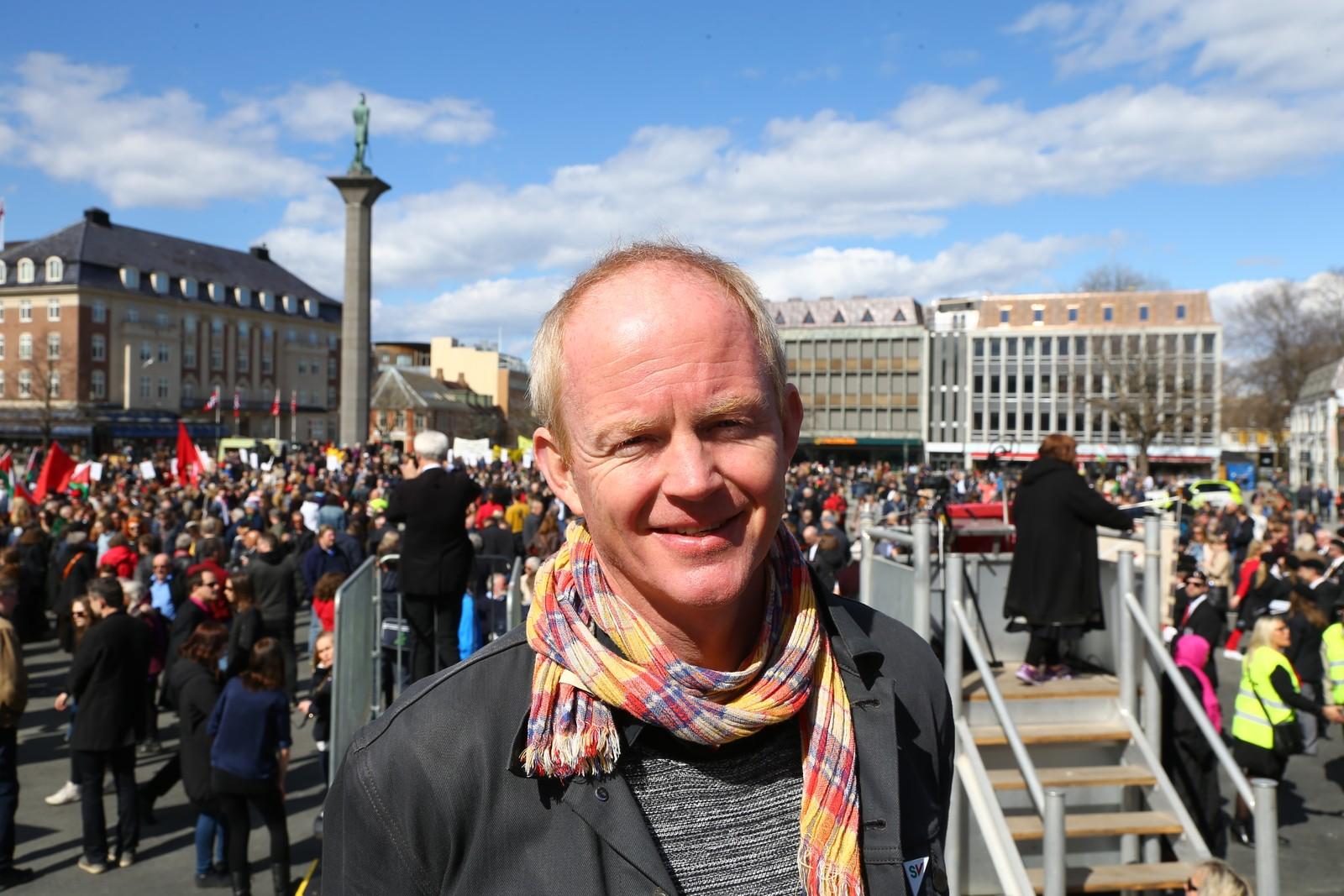 Lars Haltbrekken var en av dem som holdt tale under markeringen i Trondheim.