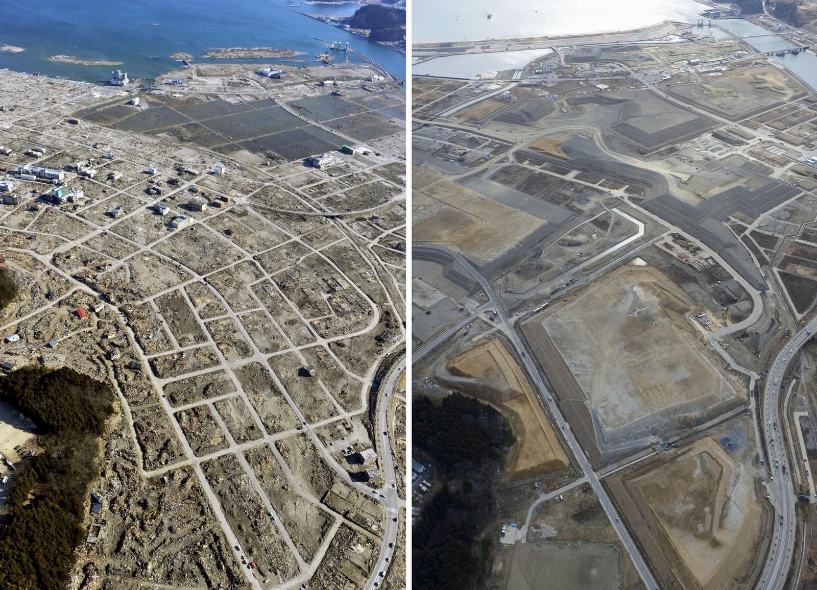 LIGGER I ØDE: Sentrum av byen Rikuzentakata på nordøstkysten ble regelrett jevnet med jorden av tsunamien. (t.v.). Området er ryddet nå og ligger i øde.
