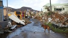 Det er ikke mye igjen av husene i Cole Bay på Saint Martin øynene etter at Irma traff land der i helgen.