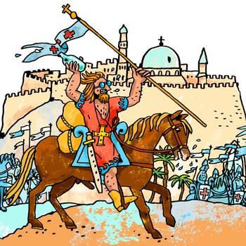 Kongerekka: Sigurd Jorsalfare rir forbi Jerusalem