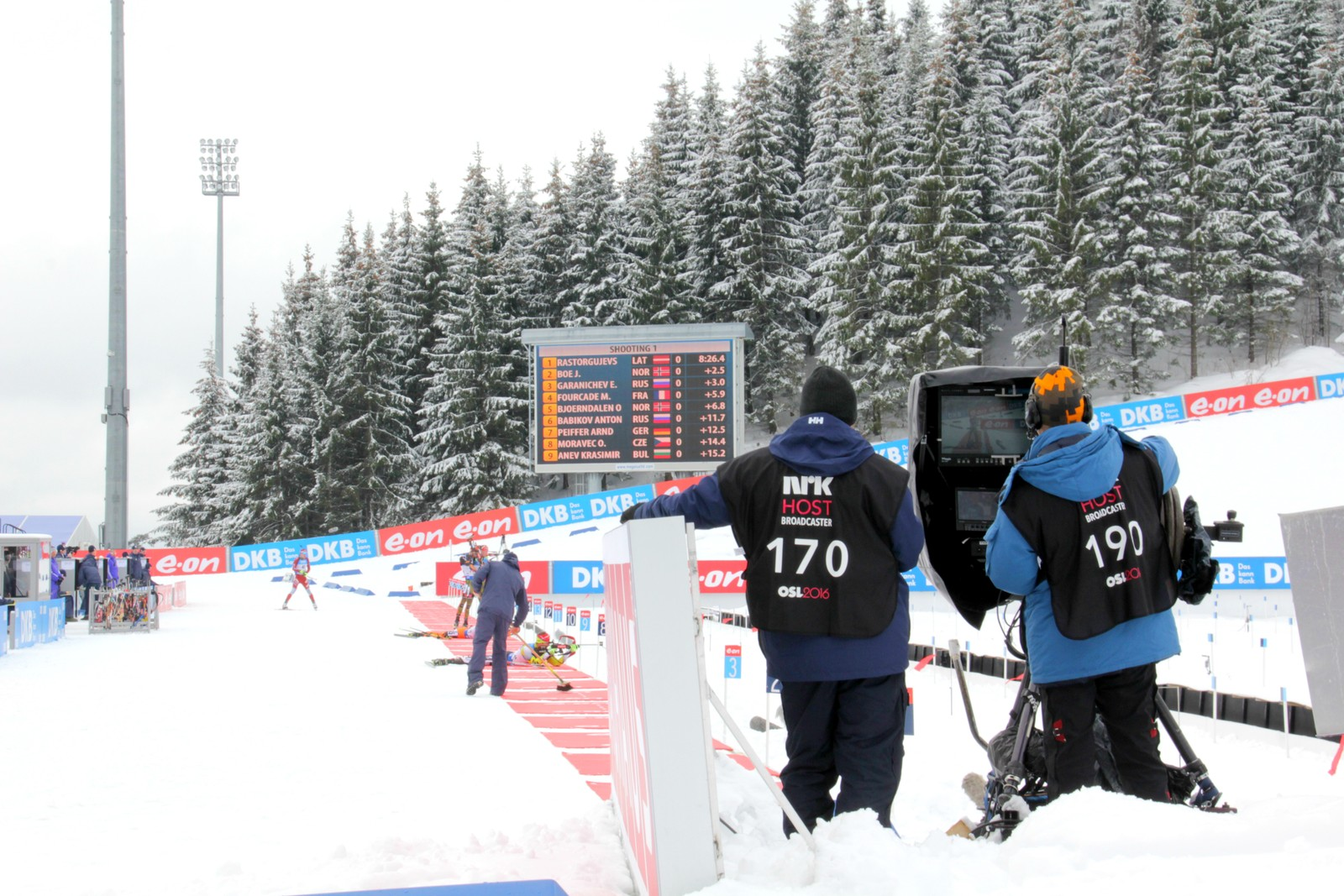 IBU Biathlon World Championships Oslo 2016: Sprint events Saturday 5 March:  NRK Host Broadcaster cameramen at the shooting range