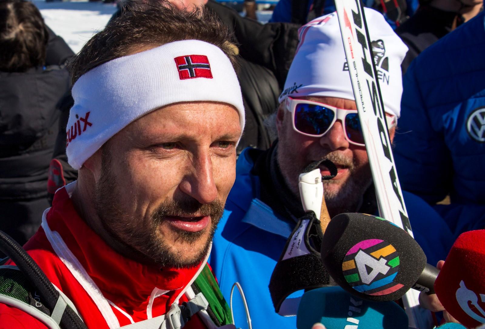 Kronprins Haakon var storfornøyd etter turen. Tida hans holdt også til å ta merket.
