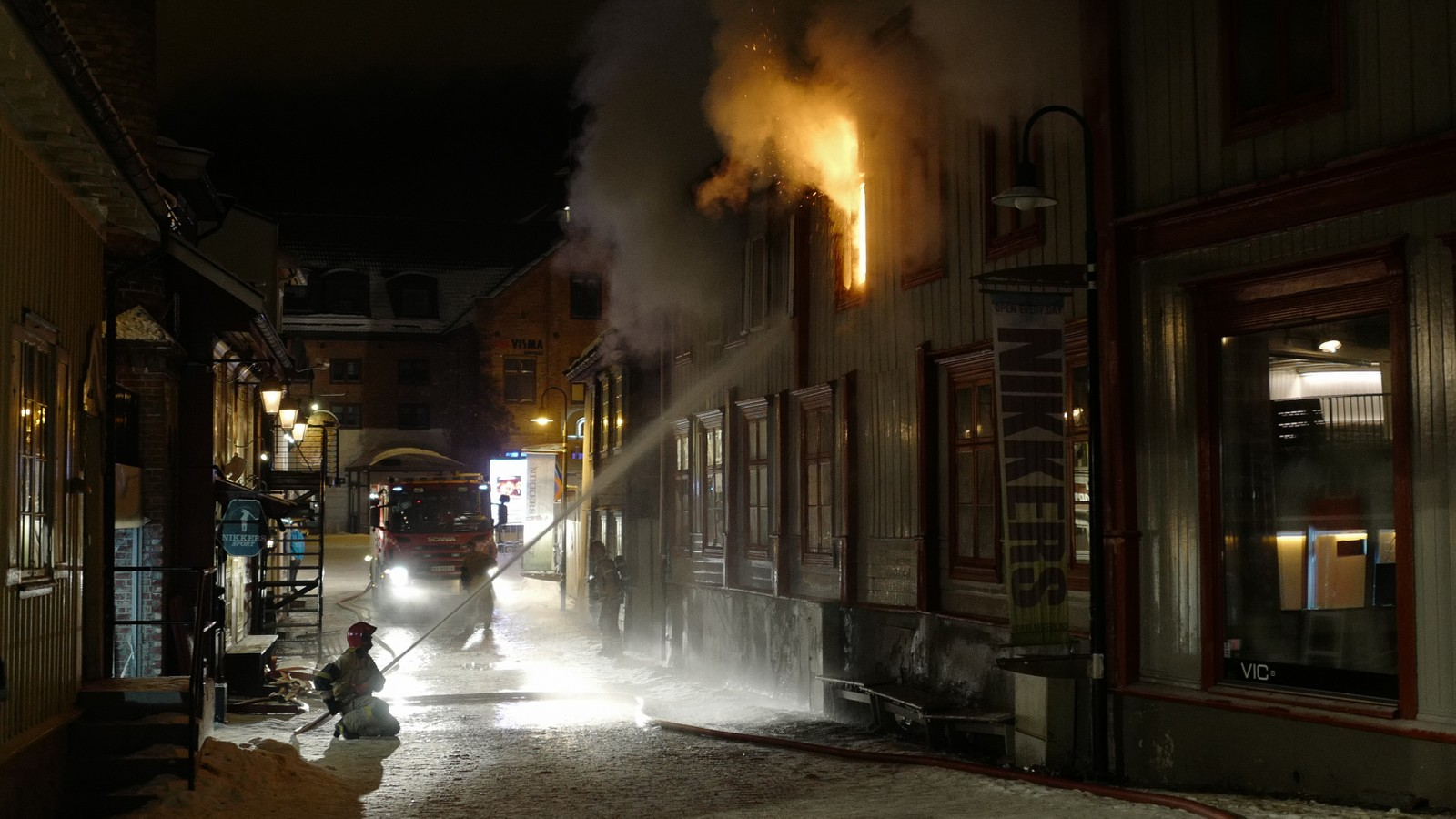 Brann i Storgata på Lillehammer