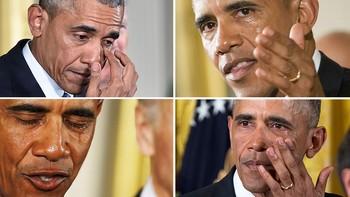 Montasje 4 bilder der Barack Obama har tårer i øyne og på kinn